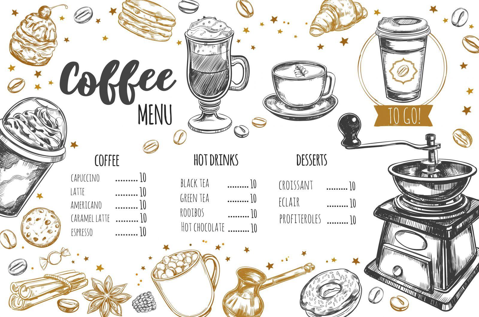Mẫu menu cafe 1