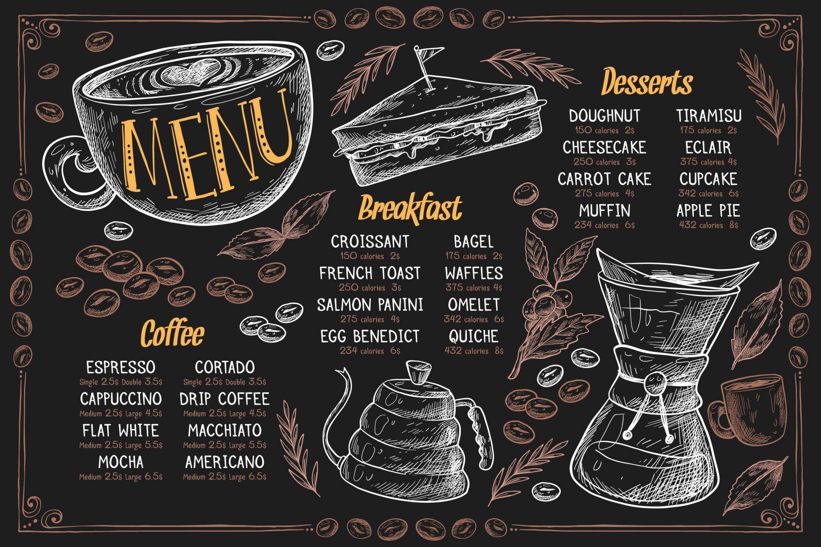 Mẫu menu cà phê số 2